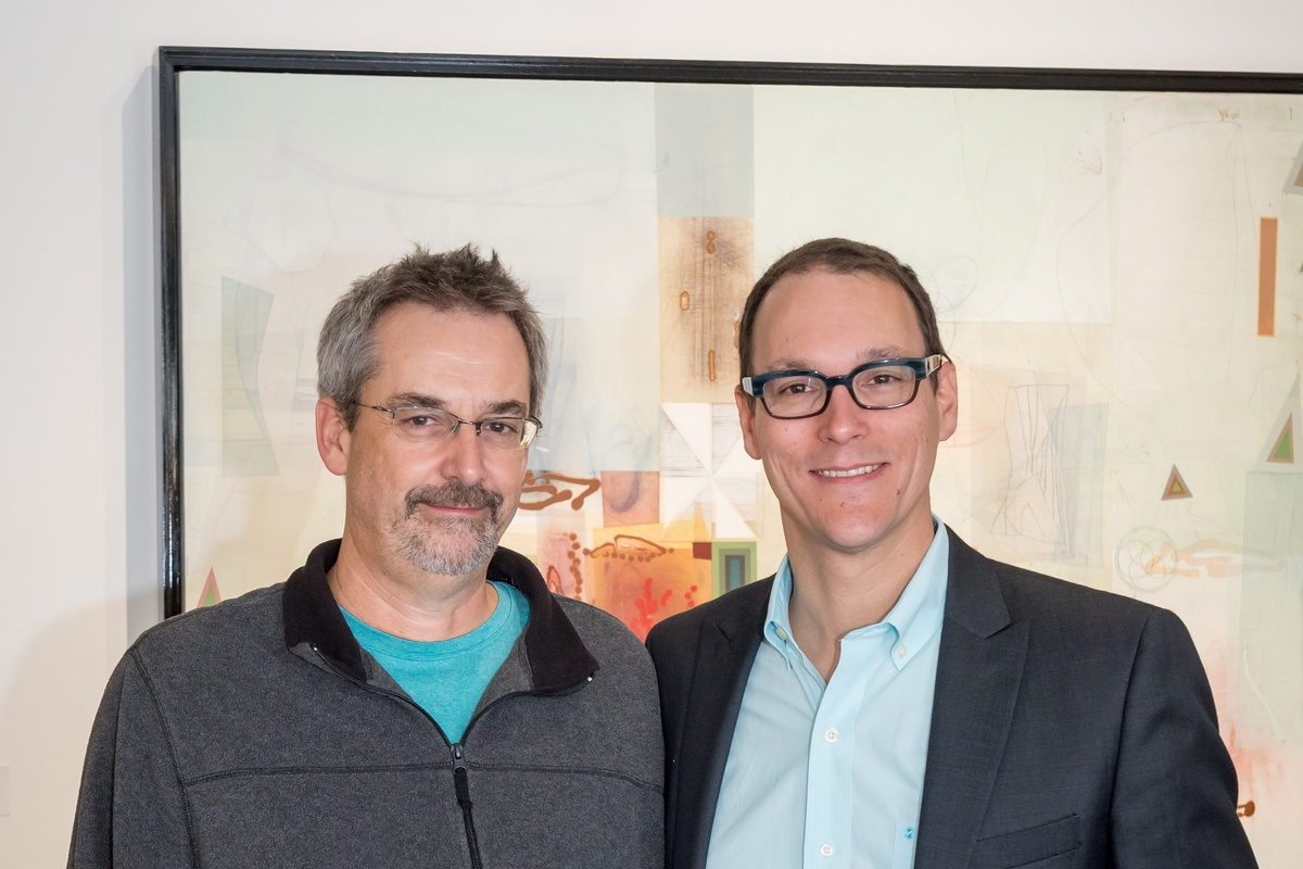 Painter Michael Barringer with Momentum Gallery Director Jordan Ahlers