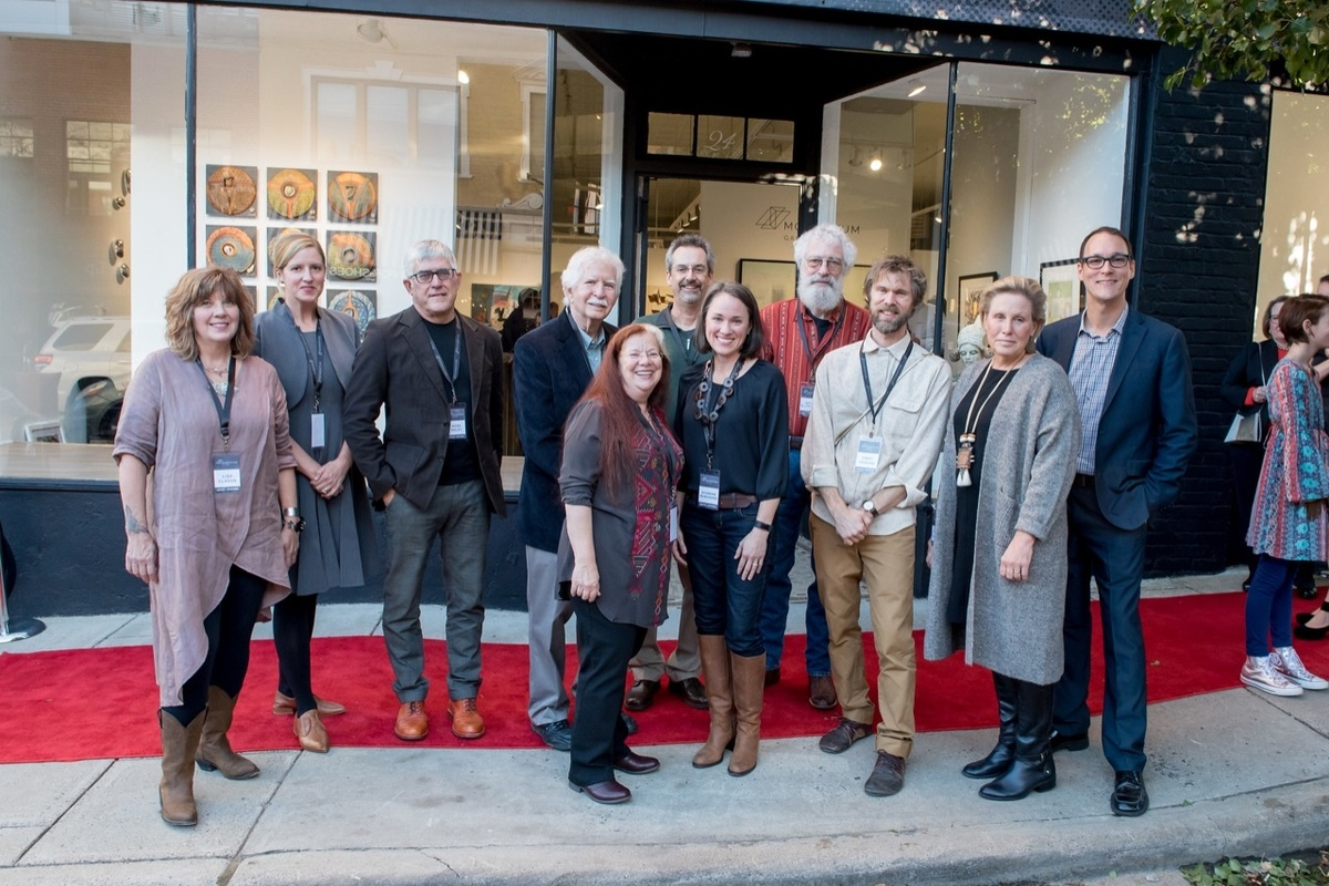 Left to right: Lisa Clague, ceramics; Jennifer Bueno, glass; Hoss Haley, metal; Ron Isaacs, painting; Mariella Bisson, painting; Michael Barringer, painting; Jeannine Marchand, ceramics; David Ellsworth, wood; Andy Farkas, printmaking; Vicki Grant, ceramics; Jordan Ahlers, Owner/Director